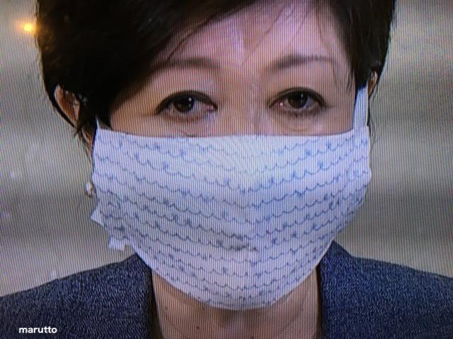 小池百合子都知事のおしゃれマスク4:手書き風のライン模様