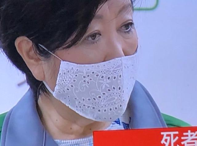 小池百合子都知事のマスク7:ペイズリー柄のレース生地