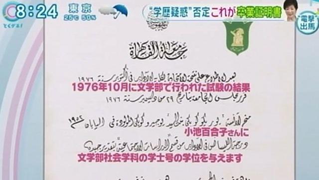 小池百合子の『カイロ大学の卒業証書』画像は偽物?